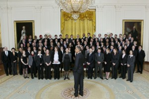 Dr. Cox (second row, 8th person from the left) meeting President Barack Obama after receiving a PECASE January 2010 at the White House. Photo courtesy of the American Society of Mechanical Engineers.